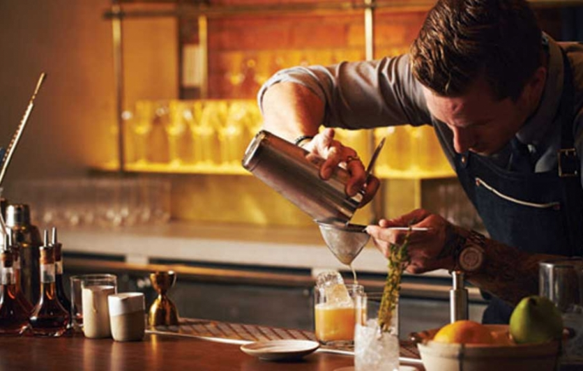 Chefs Club's Anthony Bohlinger behind the bar