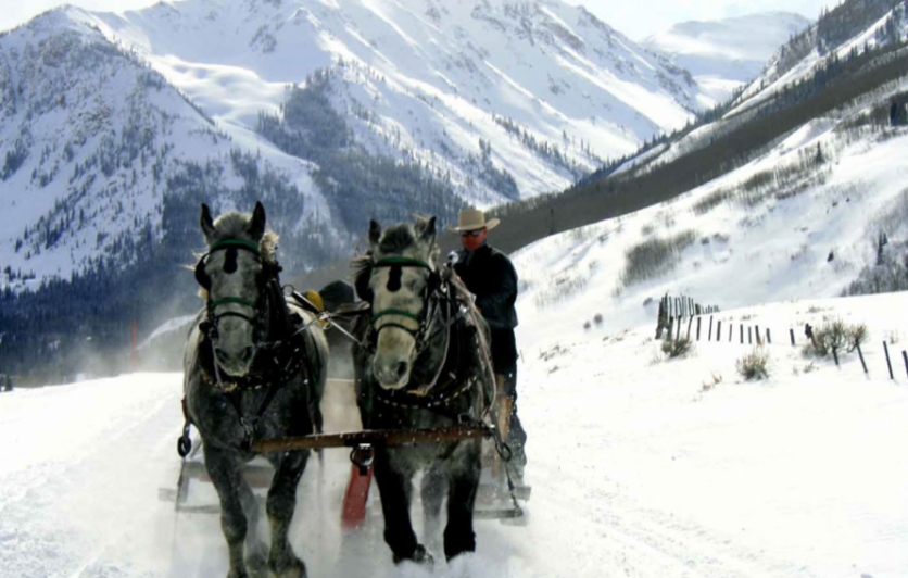 Winter visitors to the Pine Creek Cookhouse ski in on trails or ride a sleigh