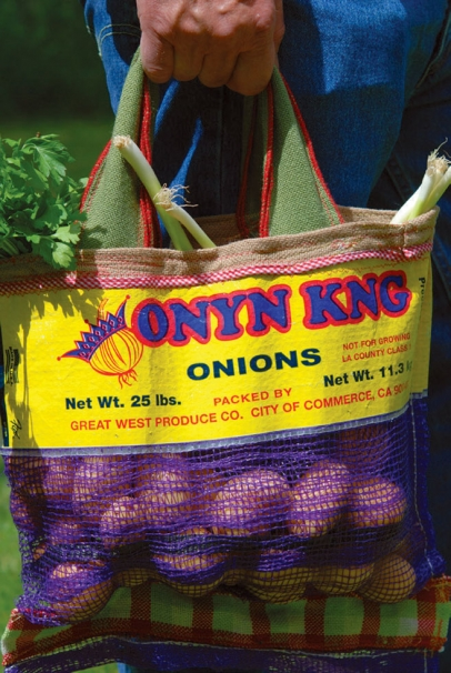 Onion bags turned into reusable shopping bags
