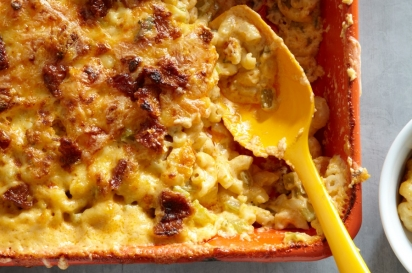 Buffalo Chicken and Crispy Skin Mac 'n' Cheese