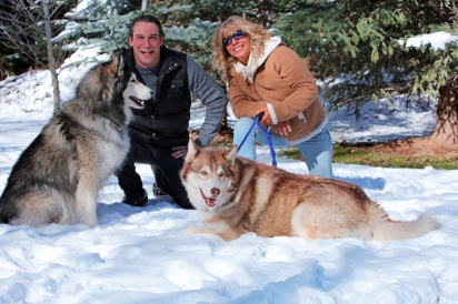 Bark Bros' Miles and Lisa Angelo with Homer and Butters