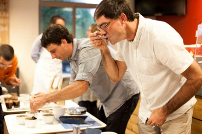 Cupping Coffee - breaking the crust and sampling