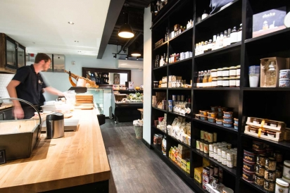 Open kitchen and shop at Meat & Cheese