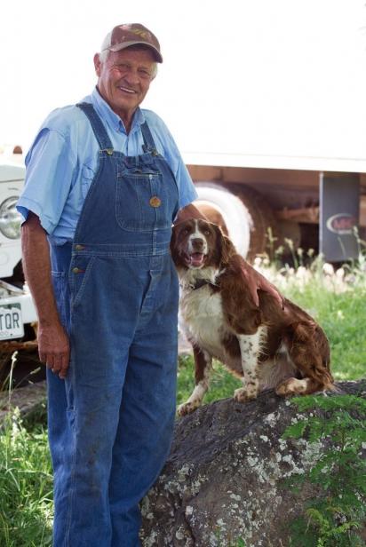 Glenn Austin with the family dog