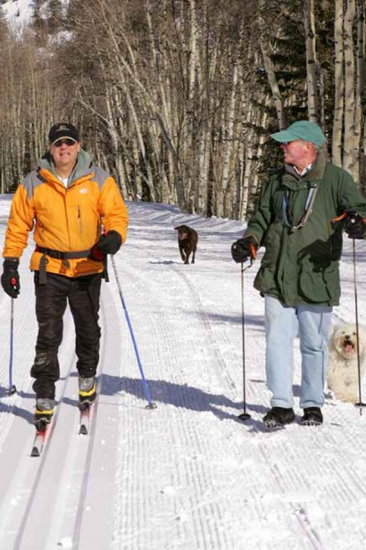 John Wilcox (left) enjoys cross country skiing with friend, Rick Bourke