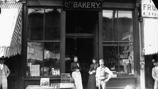 Aspen's City Bakery and a specialty fruit and cigar store, pictured here in 1890