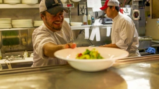 Chef Nate King in the kitchen at Cache Cache, Aspen, CO